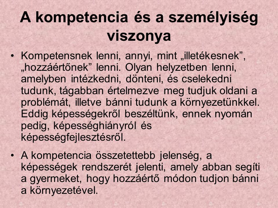 A kompetencia és a személyiség viszonya