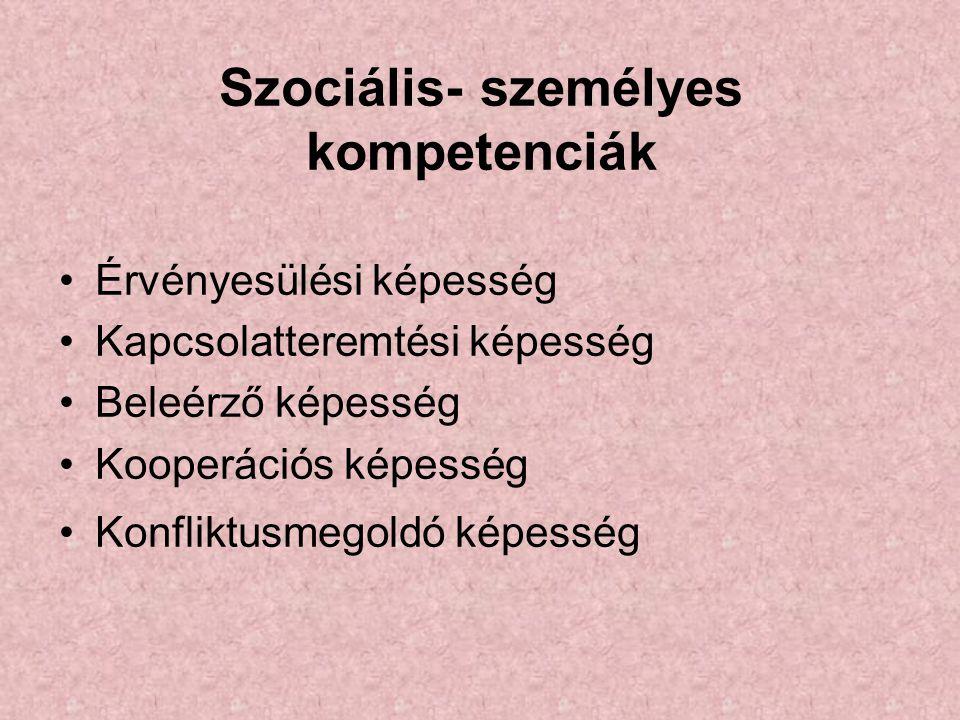 Szociális- személyes kompetenciák