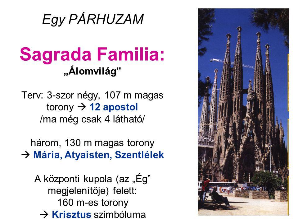 """Egy PÁRHUZAM Sagrada Familia: """"Álomvilág Terv: 3-szor négy, 107 m magas torony  12 apostol /ma még csak 4 látható/ három, 130 m magas torony  Mária, Atyaisten, Szentlélek A központi kupola (az """"Ég megjelenítője) felett: 160 m-es torony  Krisztus szimbóluma"""