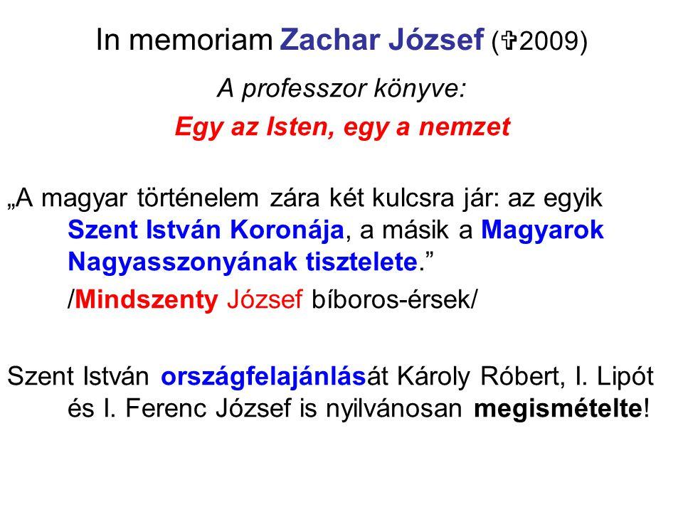 In memoriam Zachar József (2009)