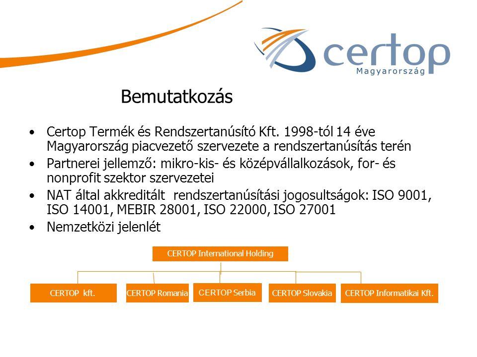 Bemutatkozás Certop Termék és Rendszertanúsító Kft. 1998-tól 14 éve Magyarország piacvezető szervezete a rendszertanúsítás terén.