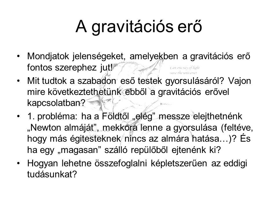 A gravitációs erő Mondjatok jelenségeket, amelyekben a gravitációs erő fontos szerephez jut!