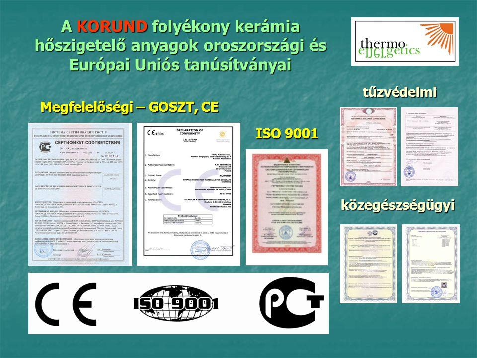 A KORUND folyékony kerámia hőszigetelő anyagok oroszországi és Európai Uniós tanúsítványai