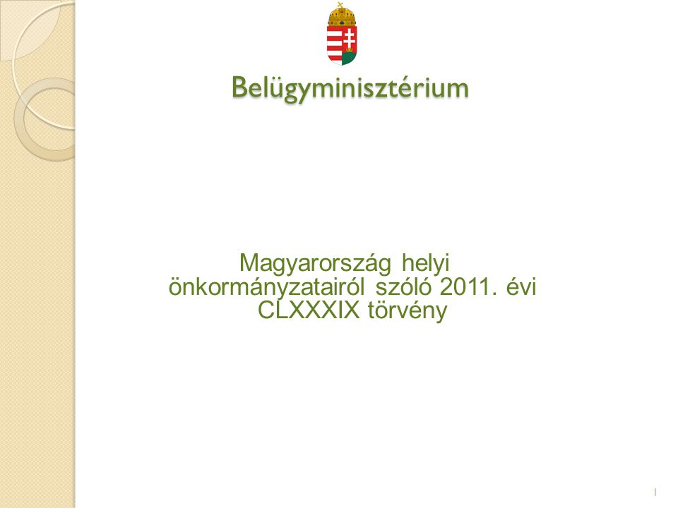 Magyarország helyi önkormányzatairól szóló 2011. évi CLXXXIX törvény