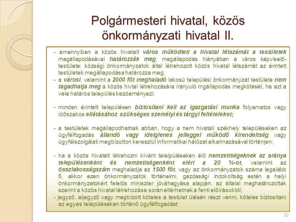 Polgármesteri hivatal, közös önkormányzati hivatal II.