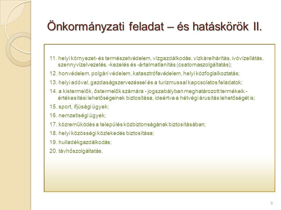 Önkormányzati feladat – és hatáskörök II.