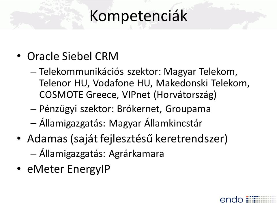 Kompetenciák Oracle Siebel CRM
