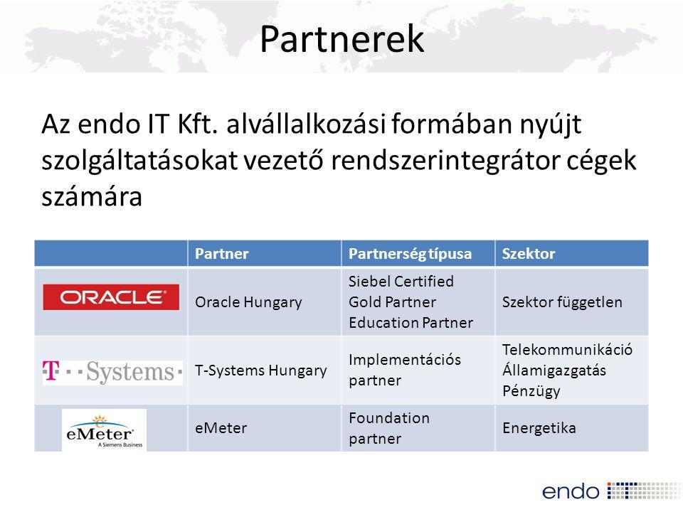 Partnerek Az endo IT Kft. alvállalkozási formában nyújt szolgáltatásokat vezető rendszerintegrátor cégek számára.