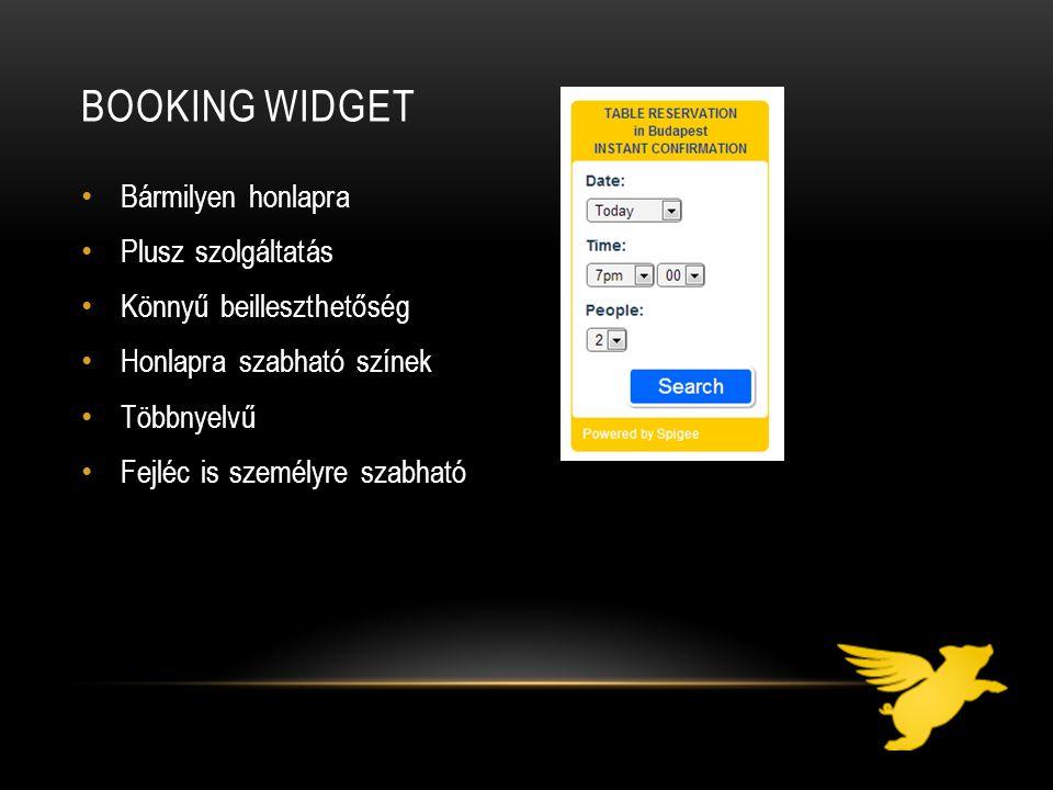 Booking widget Bármilyen honlapra Plusz szolgáltatás