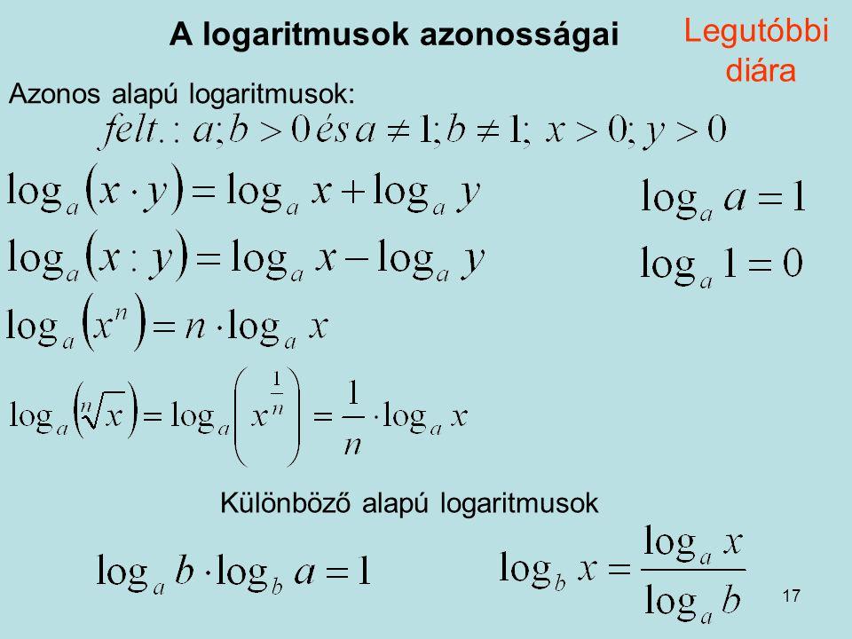 A logaritmusok azonosságai