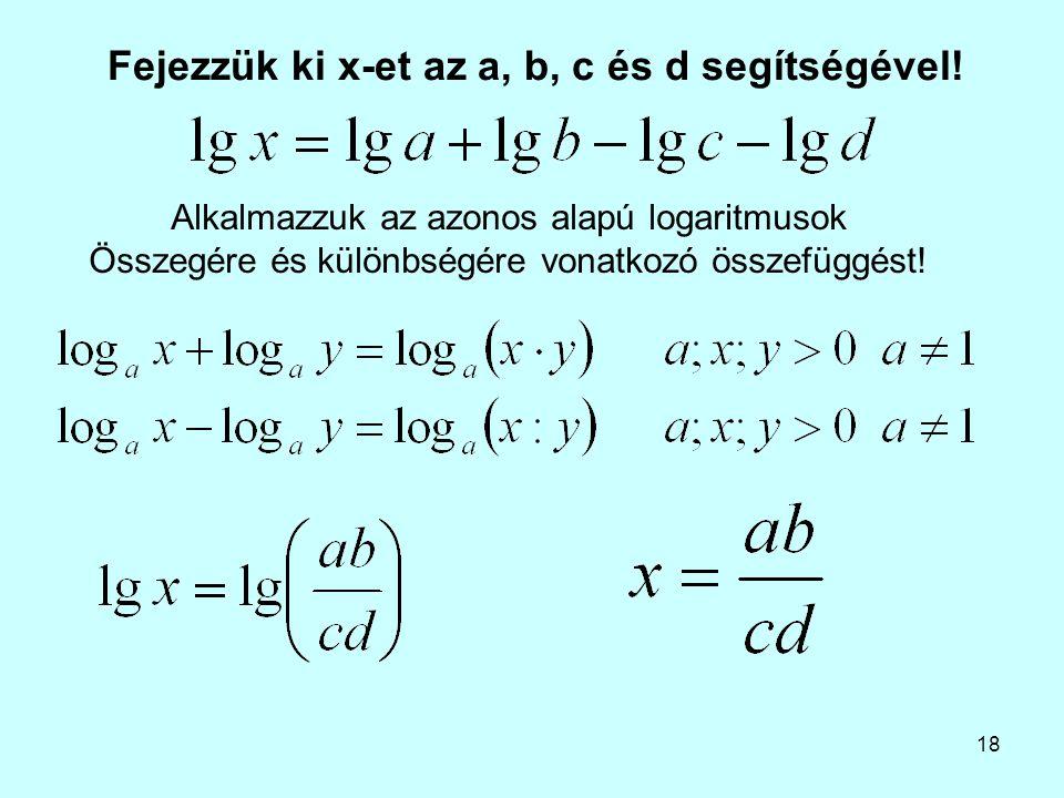 Fejezzük ki x-et az a, b, c és d segítségével!