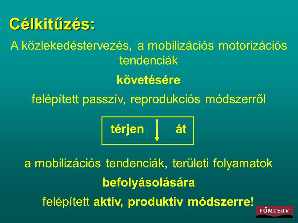 Célkitűzés: A közlekedéstervezés, a mobilizációs motorizációs tendenciák. követésére. felépített passzív, reprodukciós módszerről.