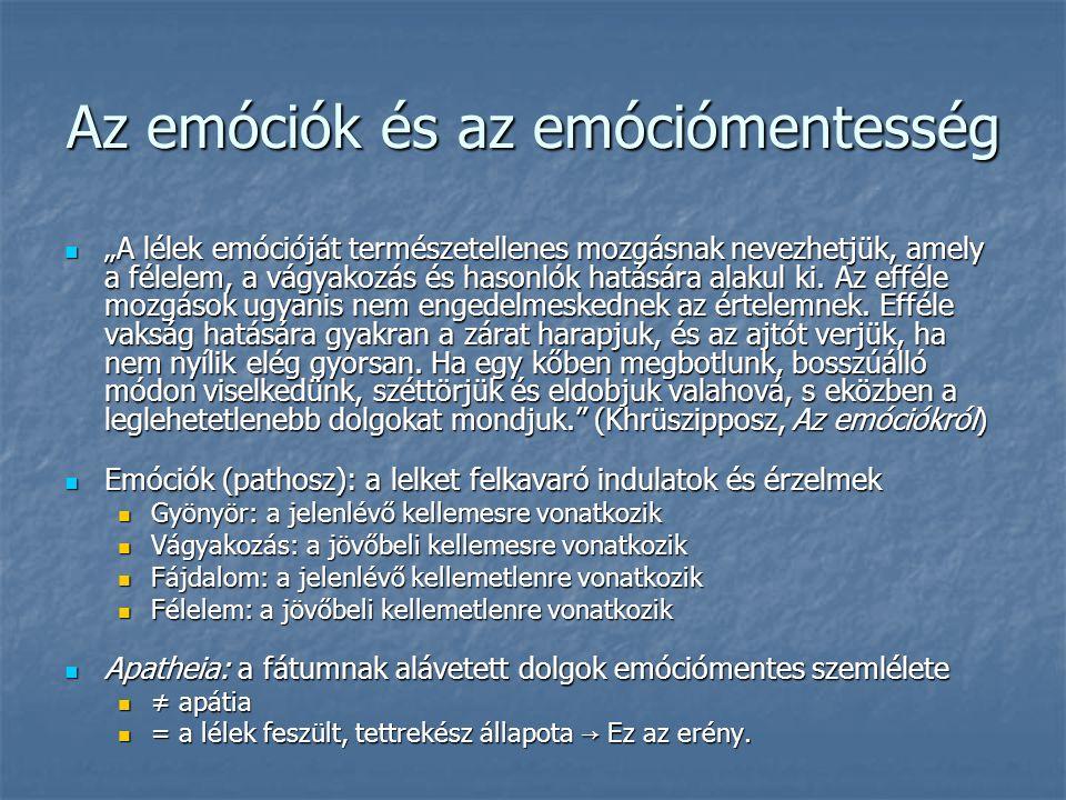 Az emóciók és az emóciómentesség