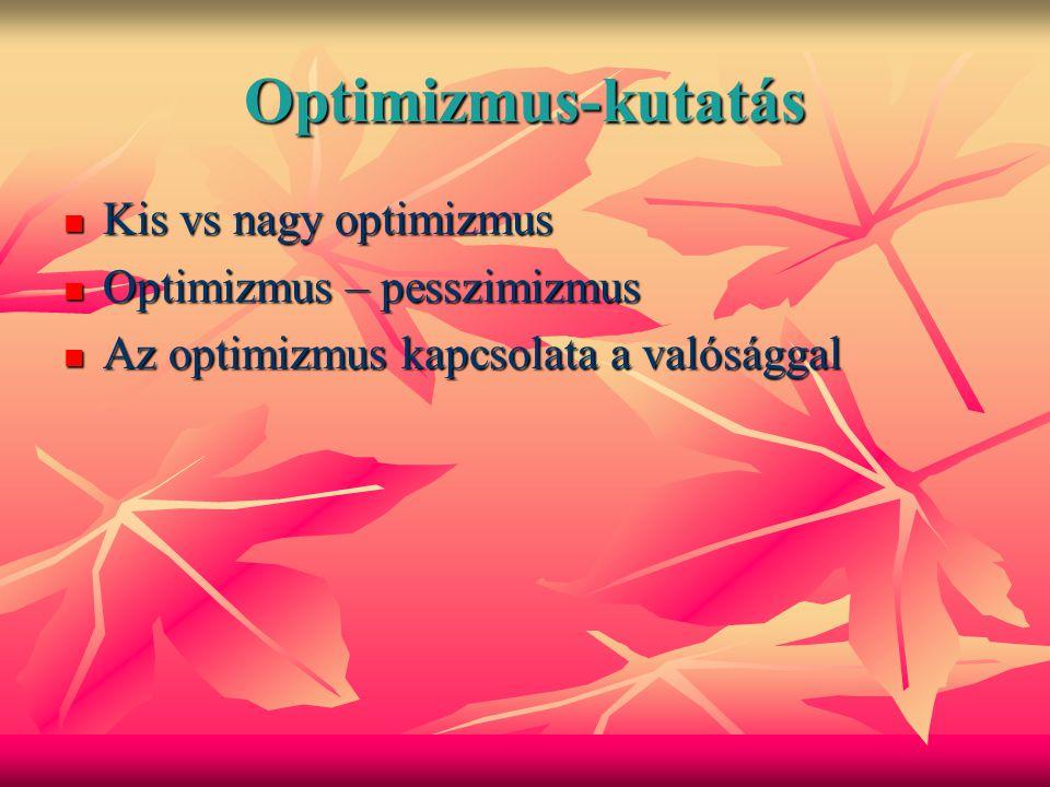 Optimizmus-kutatás Kis vs nagy optimizmus Optimizmus – pesszimizmus