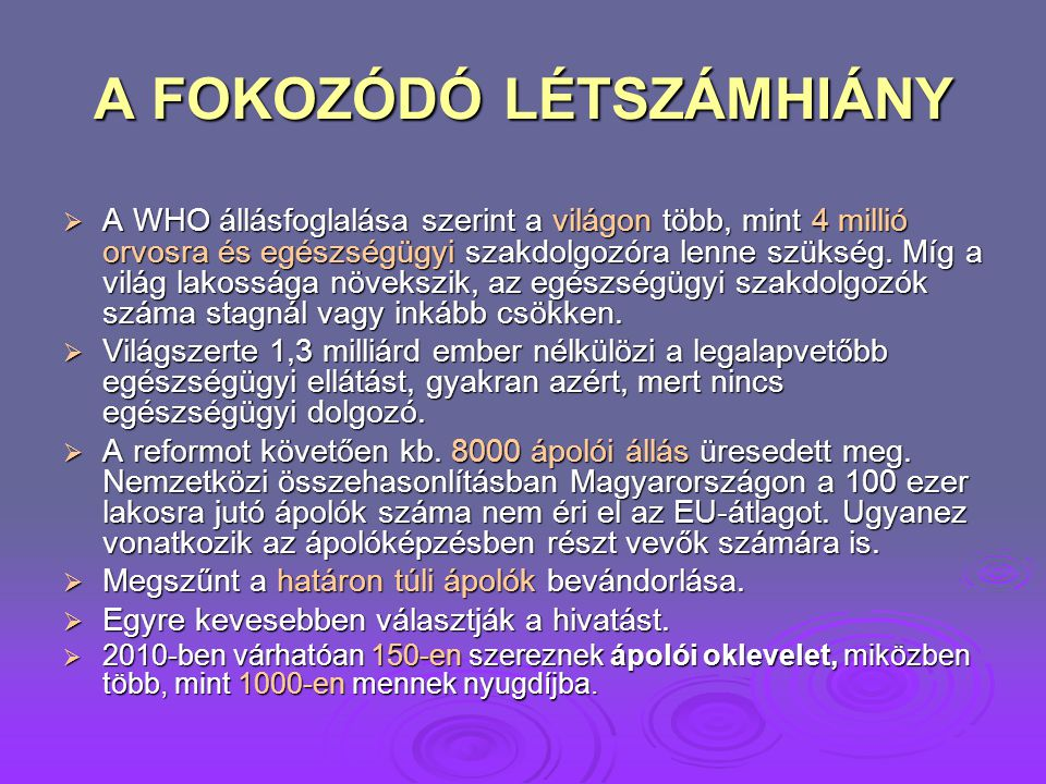 A FOKOZÓDÓ LÉTSZÁMHIÁNY