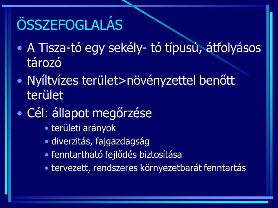 ÖSSZEFOGLALÁS A Tisza-tó egy sekély- tó típusú, átfolyásos tározó