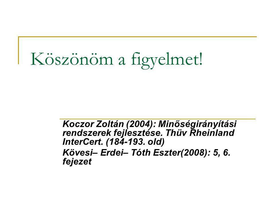 Köszönöm a figyelmet! Koczor Zoltán (2004): Minőségirányítási rendszerek fejlesztése. Thüv Rheinland InterCert. (184-193. old)