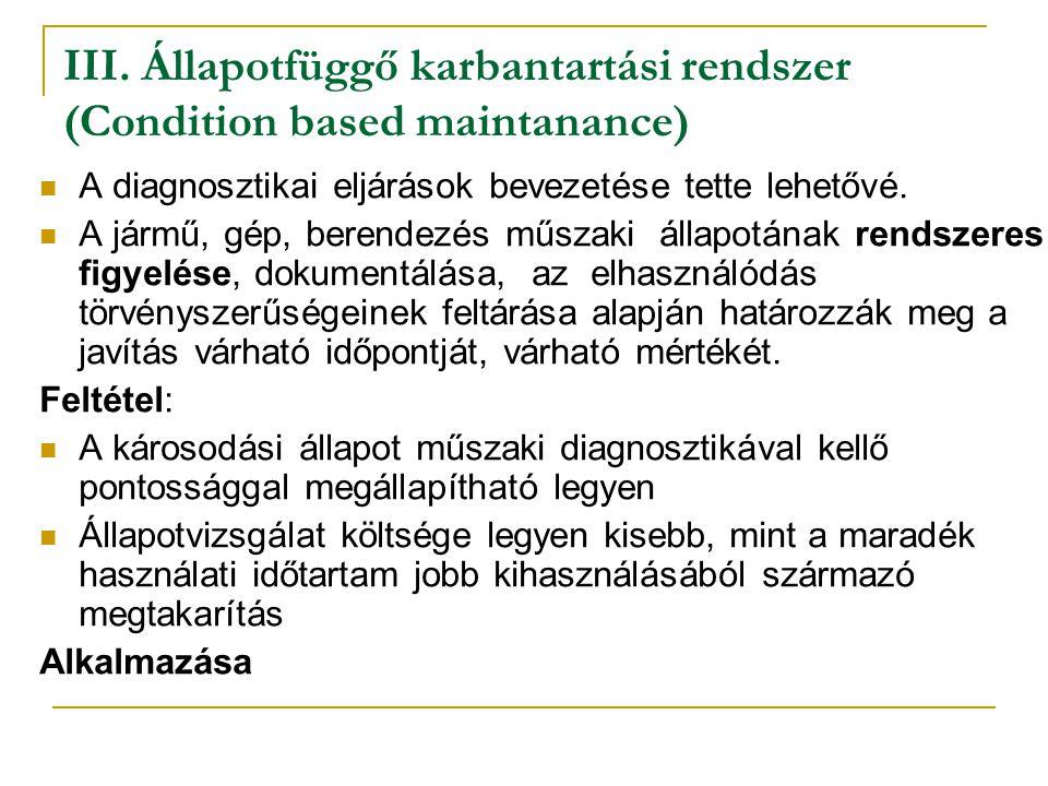 III. Állapotfüggő karbantartási rendszer (Condition based maintanance)