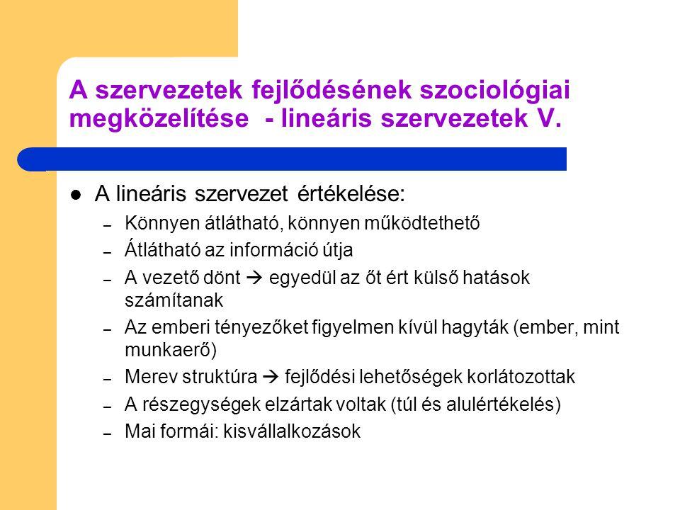 A szervezetek fejlődésének szociológiai megközelítése - lineáris szervezetek V.
