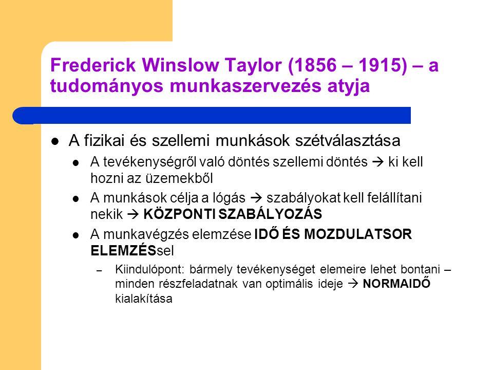 Frederick Winslow Taylor (1856 – 1915) – a tudományos munkaszervezés atyja