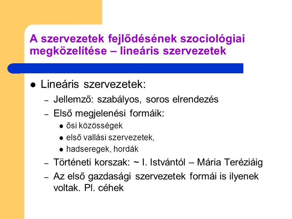 Lineáris szervezetek: