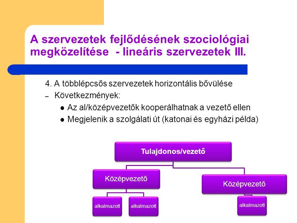 A szervezetek fejlődésének szociológiai megközelítése - lineáris szervezetek III.