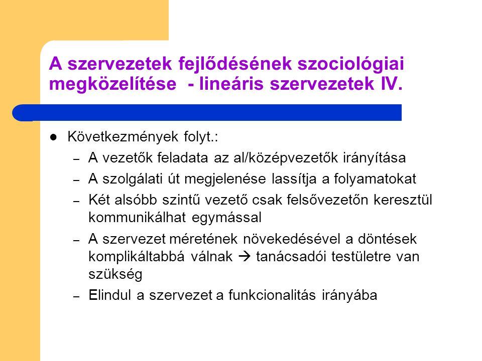 A szervezetek fejlődésének szociológiai megközelítése - lineáris szervezetek IV.