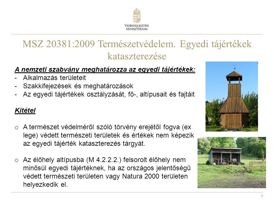MSZ 20381:2009 Természetvédelem. Egyedi tájértékek kataszterezése