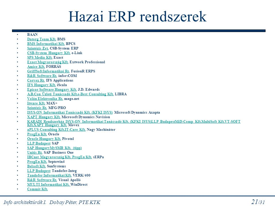 Hazai ERP rendszerek BAAN Datorg Team Kft. BMS