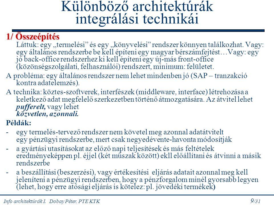 Különböző architektúrák integrálási technikái