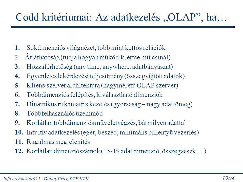 """Codd kritériumai: Az adatkezelés """"OLAP , ha…"""