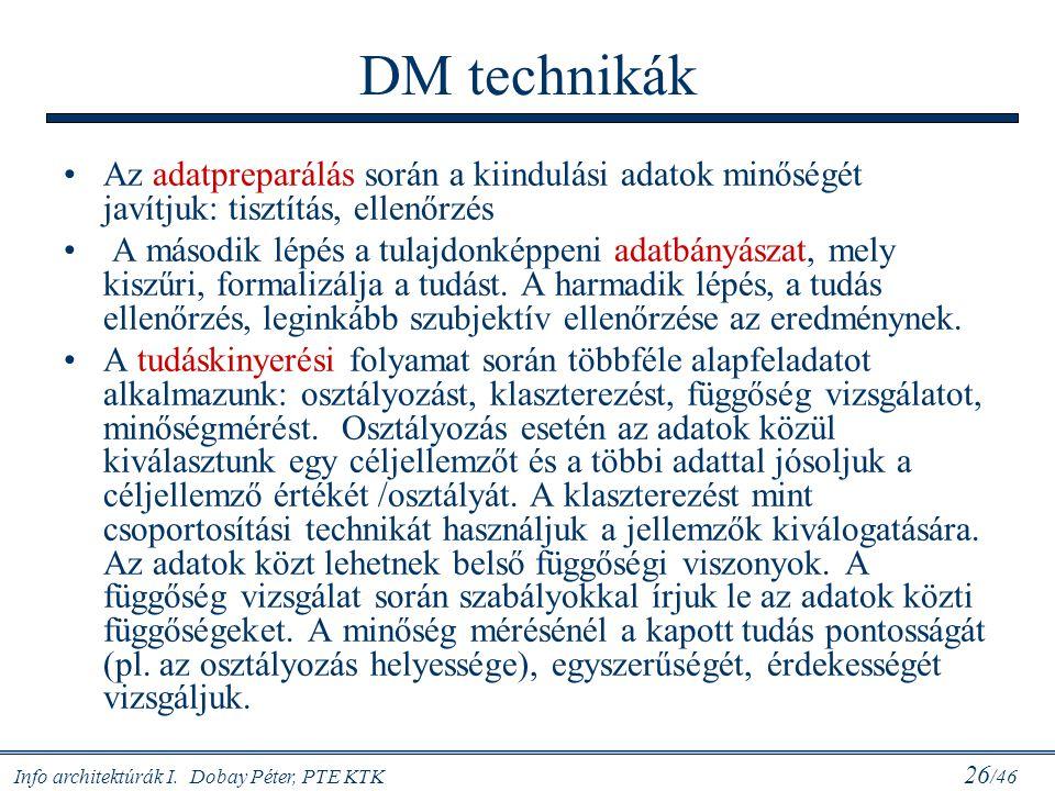 DM technikák Az adatpreparálás során a kiindulási adatok minőségét javítjuk: tisztítás, ellenőrzés.