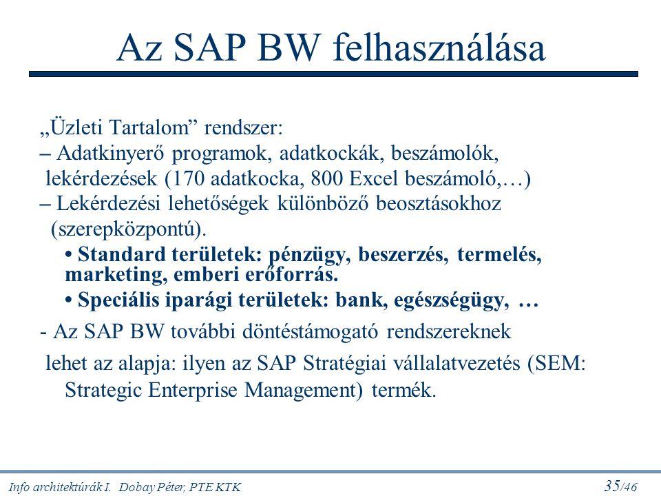 Az SAP BW felhasználása