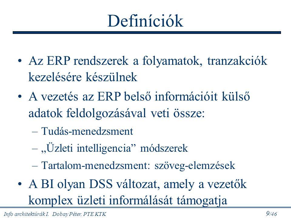 Definíciók Az ERP rendszerek a folyamatok, tranzakciók kezelésére készülnek.