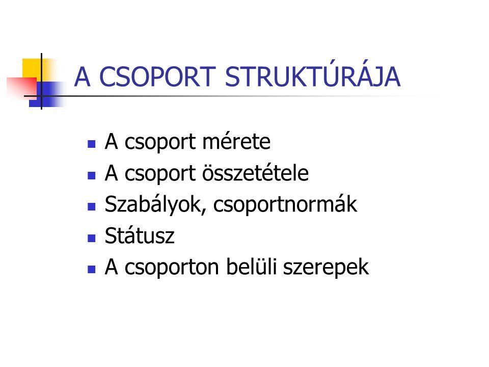 A CSOPORT STRUKTÚRÁJA A csoport mérete A csoport összetétele