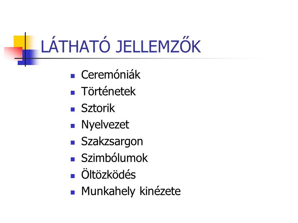 LÁTHATÓ JELLEMZŐK Ceremóniák Történetek Sztorik Nyelvezet Szakzsargon