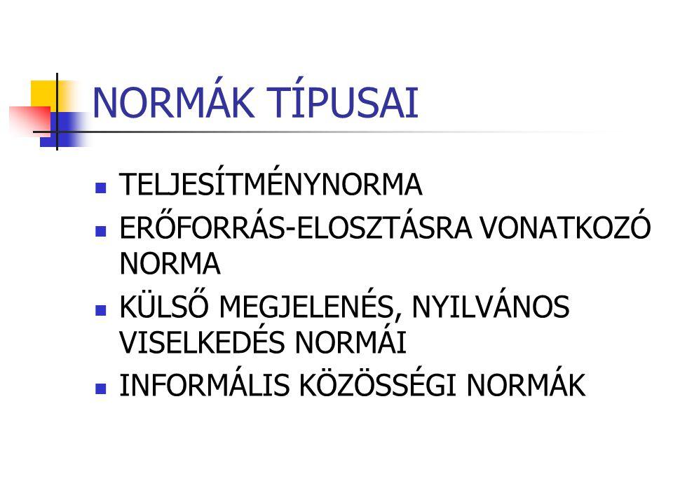NORMÁK TÍPUSAI TELJESÍTMÉNYNORMA ERŐFORRÁS-ELOSZTÁSRA VONATKOZÓ NORMA