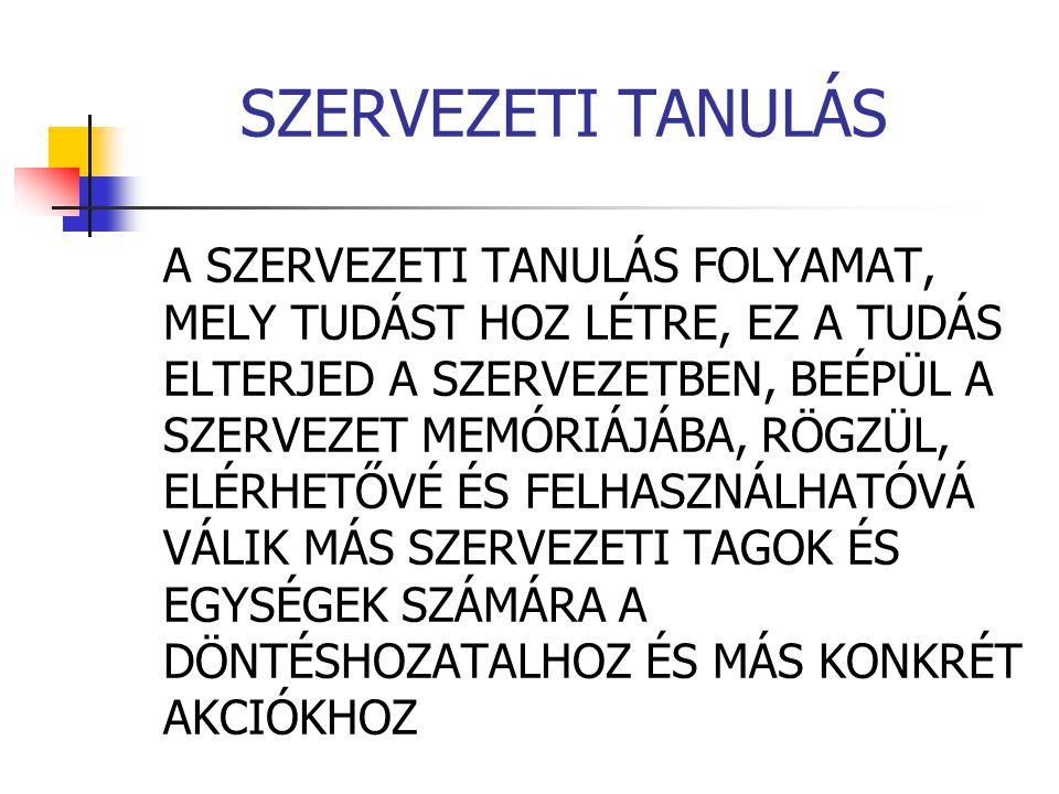 SZERVEZETI TANULÁS