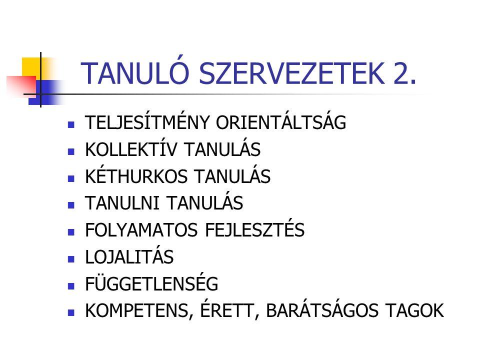 TANULÓ SZERVEZETEK 2. TELJESÍTMÉNY ORIENTÁLTSÁG KOLLEKTÍV TANULÁS