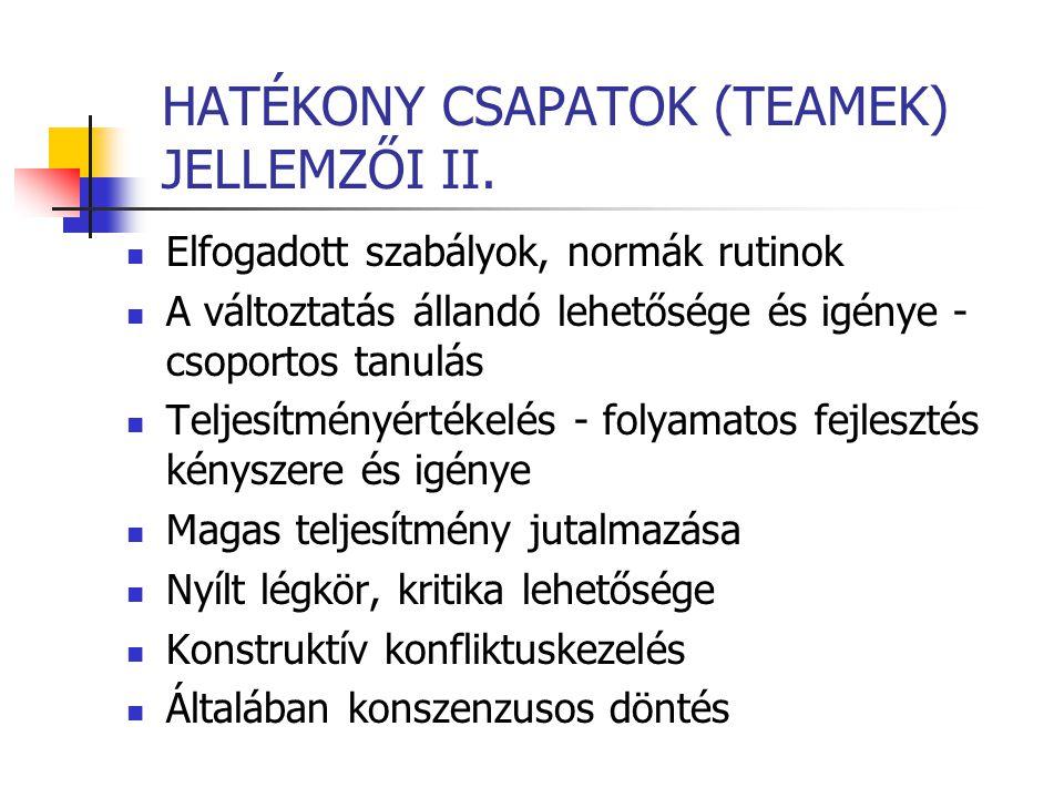 HATÉKONY CSAPATOK (TEAMEK) JELLEMZŐI II.