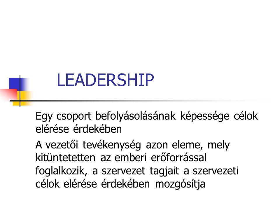 LEADERSHIP Egy csoport befolyásolásának képessége célok elérése érdekében.