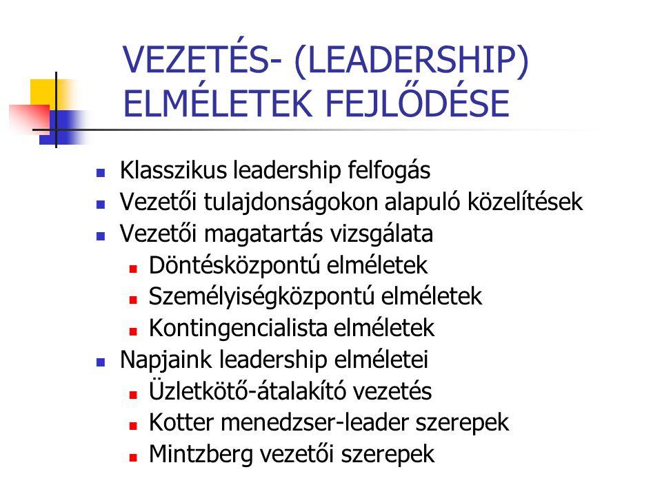 VEZETÉS- (LEADERSHIP) ELMÉLETEK FEJLŐDÉSE