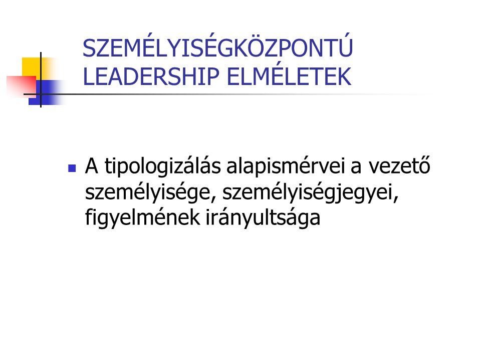 SZEMÉLYISÉGKÖZPONTÚ LEADERSHIP ELMÉLETEK