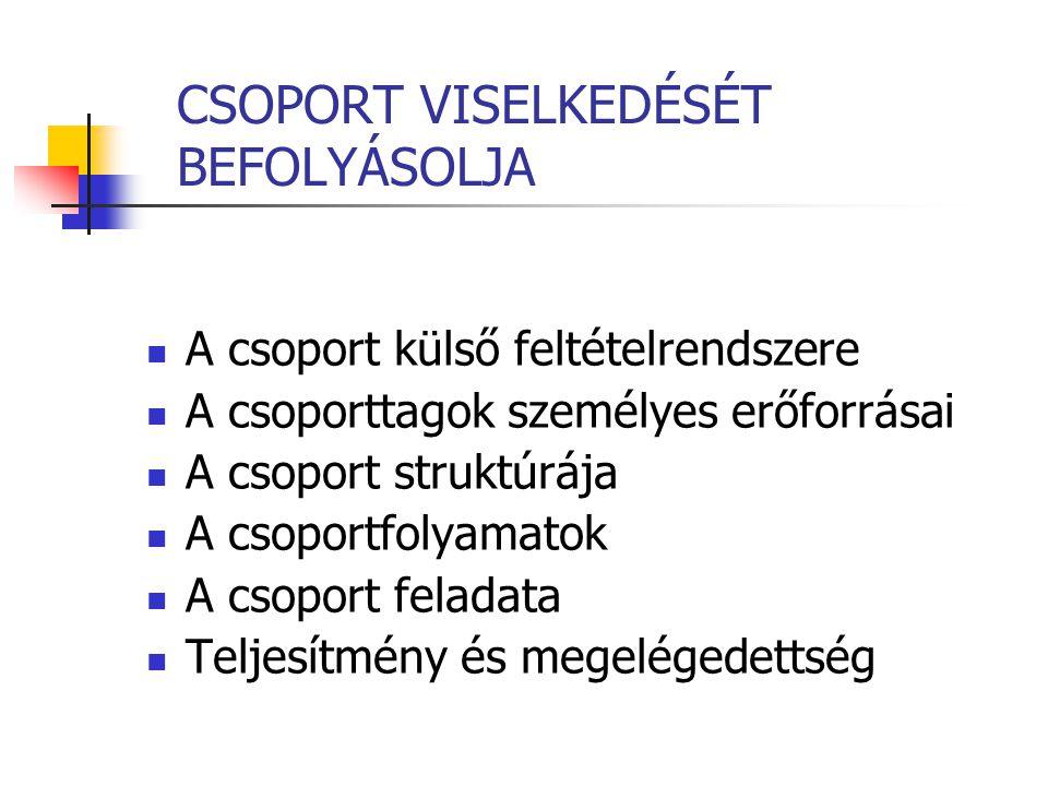 CSOPORT VISELKEDÉSÉT BEFOLYÁSOLJA