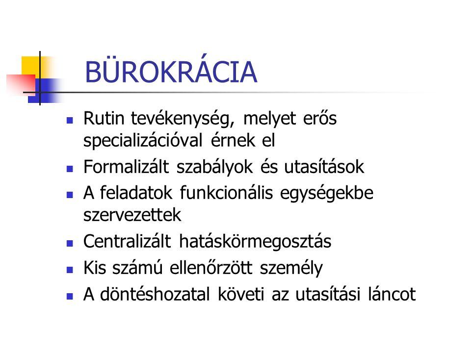 BÜROKRÁCIA Rutin tevékenység, melyet erős specializációval érnek el