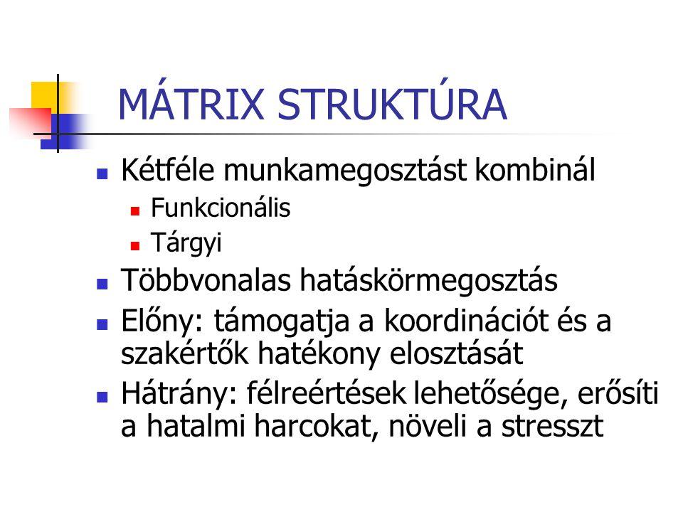 MÁTRIX STRUKTÚRA Kétféle munkamegosztást kombinál