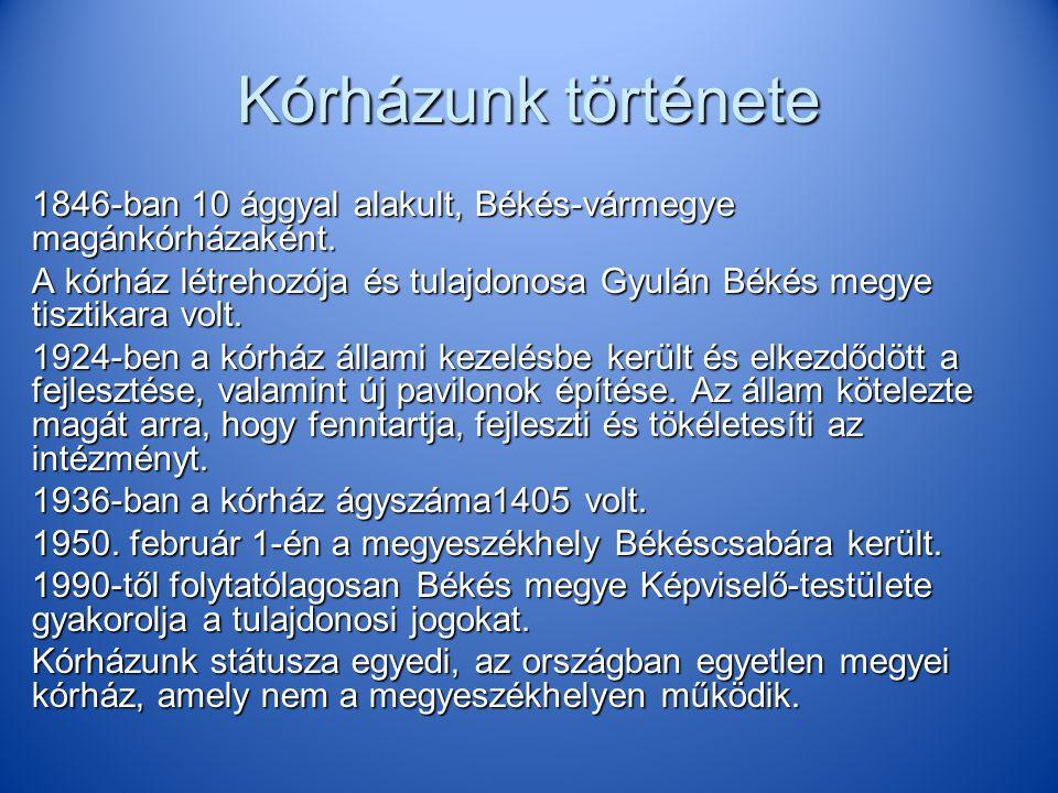 Kórházunk története 1846-ban 10 ággyal alakult, Békés-vármegye magánkórházaként.