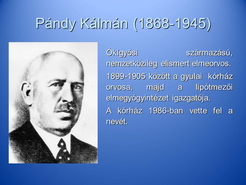 Pándy Kálmán (1868-1945) Ókígyósi származású, nemzetközileg elismert elmeorvos.