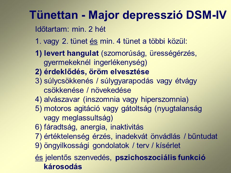 Tünettan - Major depresszió DSM-IV