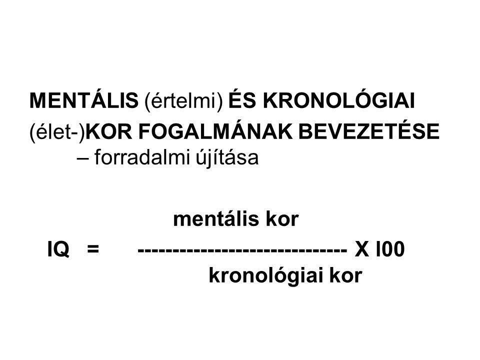 MENTÁLIS (értelmi) ÉS KRONOLÓGIAI